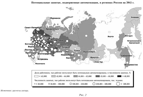 Потенциальные занятые, подверженные автоматизации в районах России на 2015 год