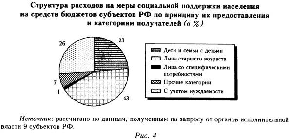 Структура расходов на меры социальной поддержки населения из средств бюджетов субъектов РФ